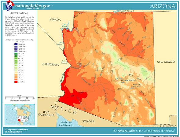 arizona annual average precipitation map