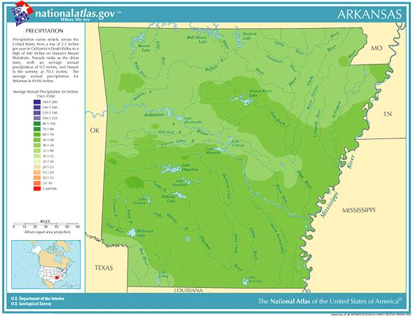 Arkansas Annual Rainfall, Severe Weather and Climate Data