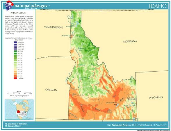 Annual Idaho precipitation, severe weather and climate data