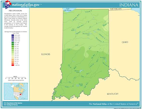 Annual Indiana rainfall, severe weather and climate data