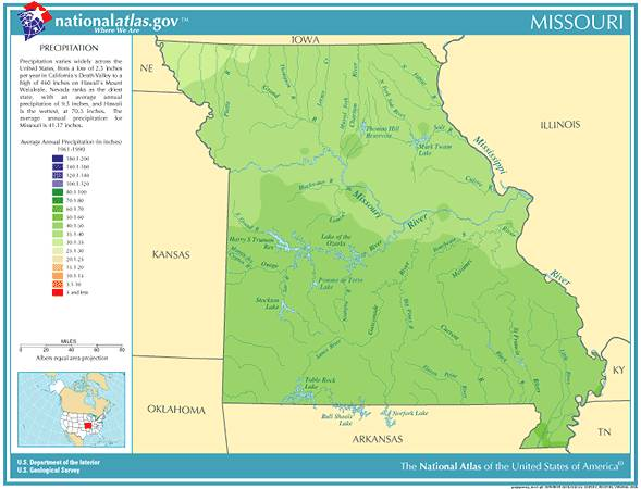 Annual Missouri Rainfall Severe Weather And Climate Data - St Louis Missouri On Map Of Us