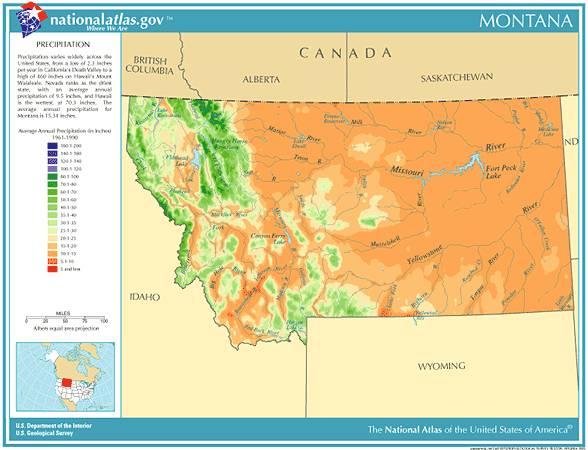 montana average annual precipitation